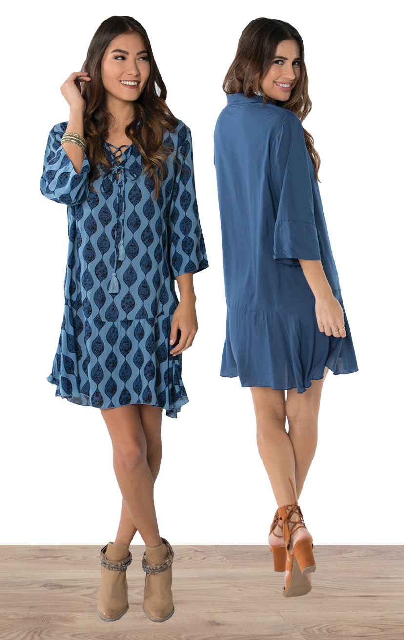CHEMISE BLAKE   3/4 slv chemise style short dress, w/ slight ruffle at bottom, front lace up ties w/ tassels  100% RAYON | XS/S-M/L