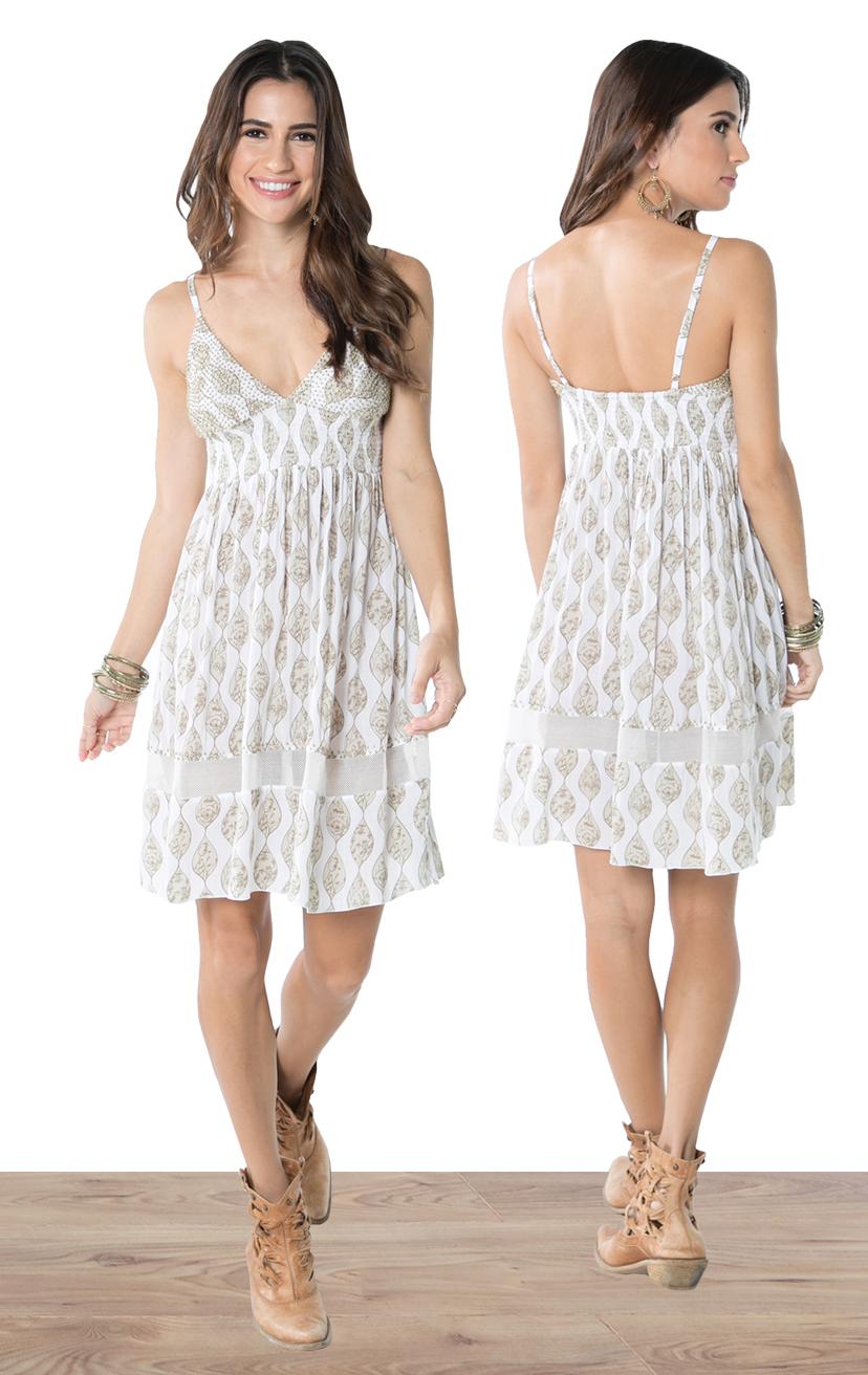 RESS PARKER   Empire waist beaded triangle top, spaghetti strap, bottom lace, elastic back short dress  100% RAYON | XS, S, M, L