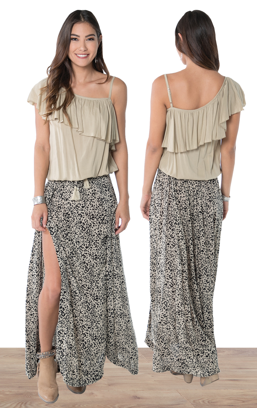 TOP DIXIE   Asymmetrical, one side spaghetti strap ruffle top  100% COTTON | XS-S-M-L  –   SKIRT VOLCANO   Maxi wrap skirt, back elastic, front ties, round bottom hem  100% cotton | XS-S-M-L