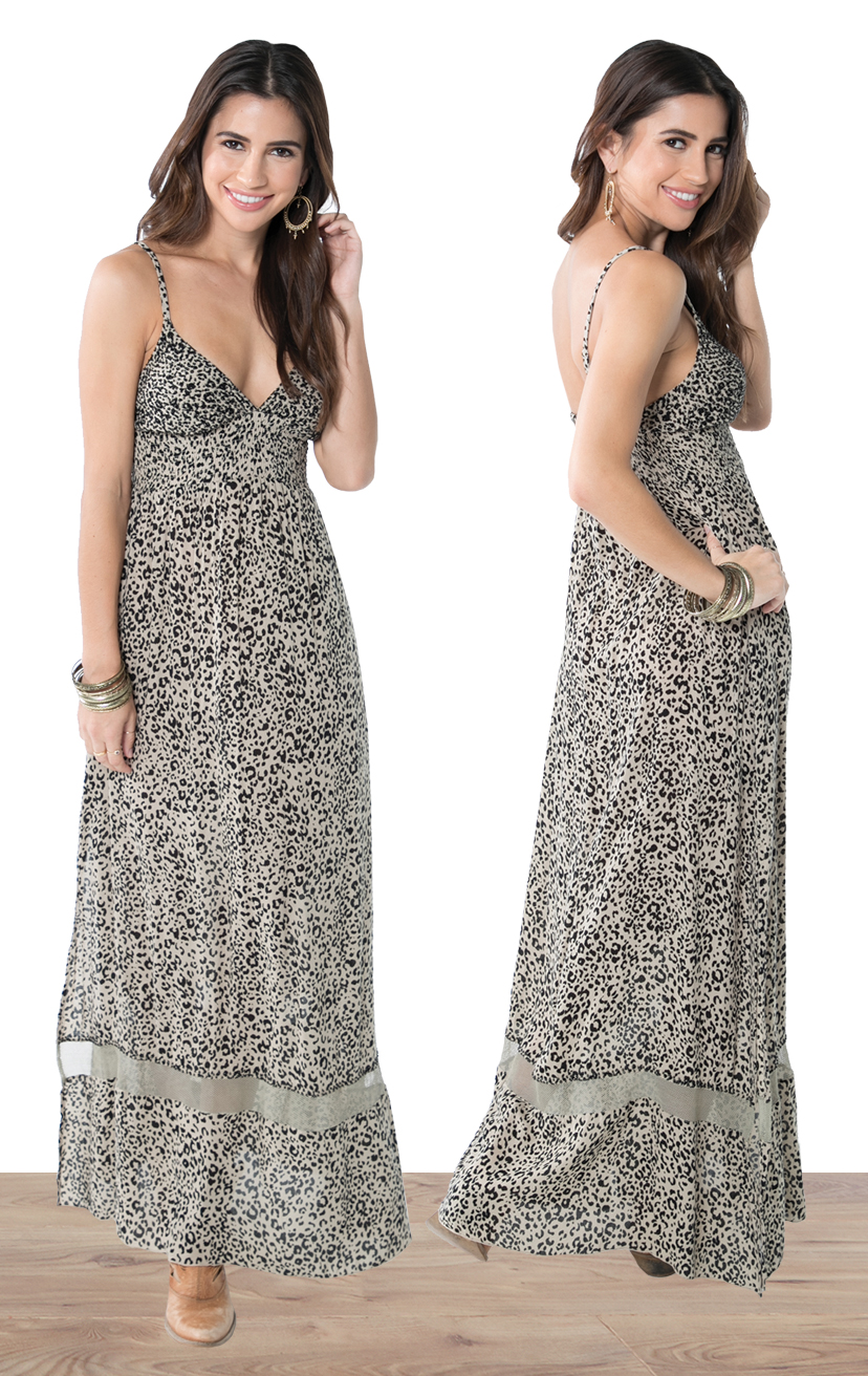 DRESS JASPER   Empire waist beaded triangle top, spaghetti strap, bottom lace, elastic back maxi dress  100% RAYON | XS-S-M-L
