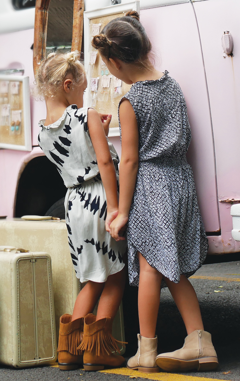 DRESS SOLEIL   Sleeveless wrap style, lace waistband, ties w/ tassels, tulip-hem midi dress  100% RAYON | 2/3 | 4/5 | 6/7 | 8/10