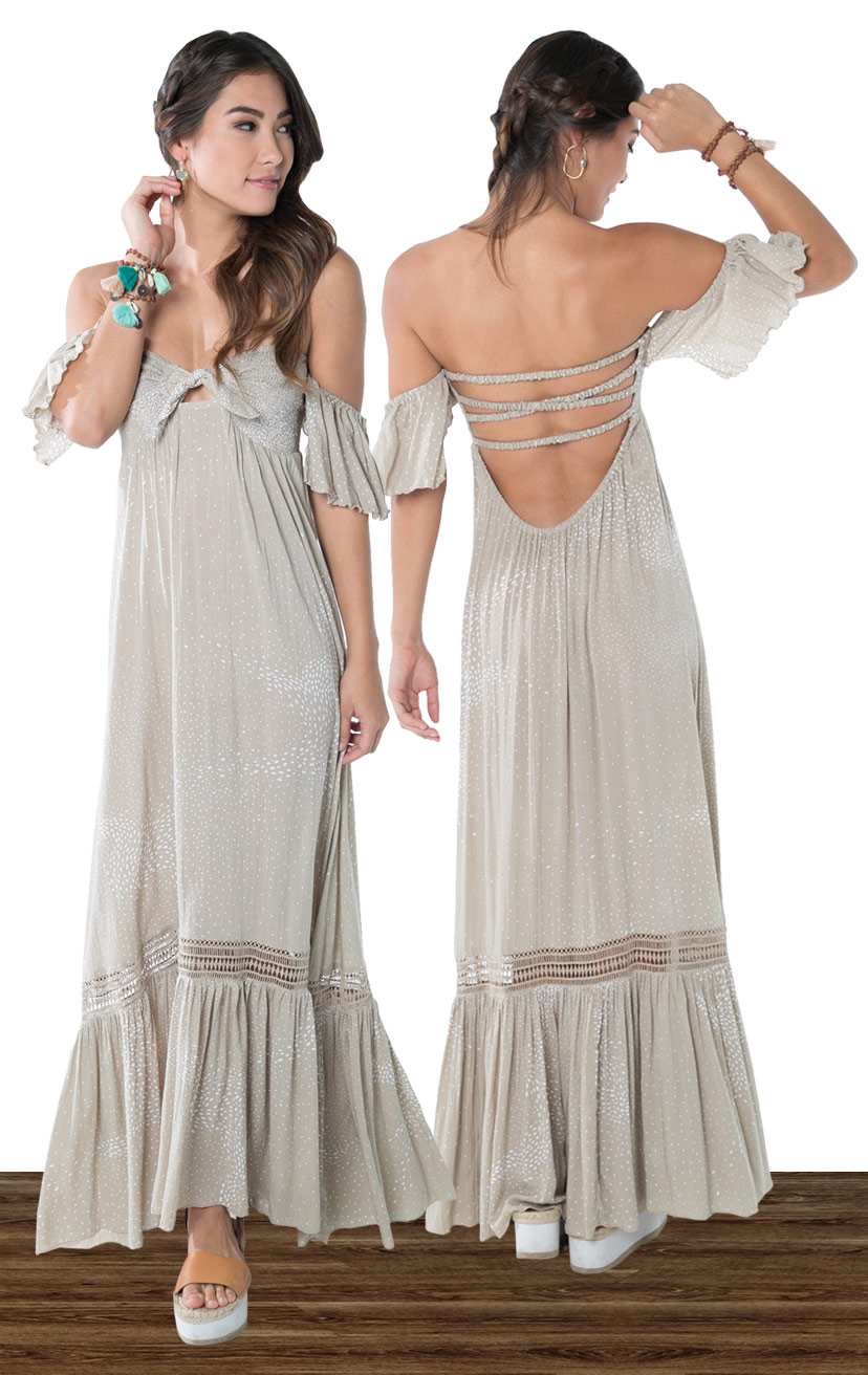 DRESS MERCI   Cap slv strapless maxi dress, smocked bodice w/ a tie detail, x-back, bottom ruffle w/ lace  100% RAYON   XS-S-M-L