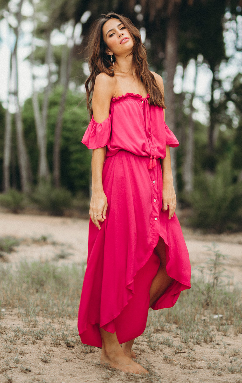 DRESS WINNIE   Strapless off-shoulder, cap-slv, button down, high-low maxi dress  100% RAYON | XS-S-M-L