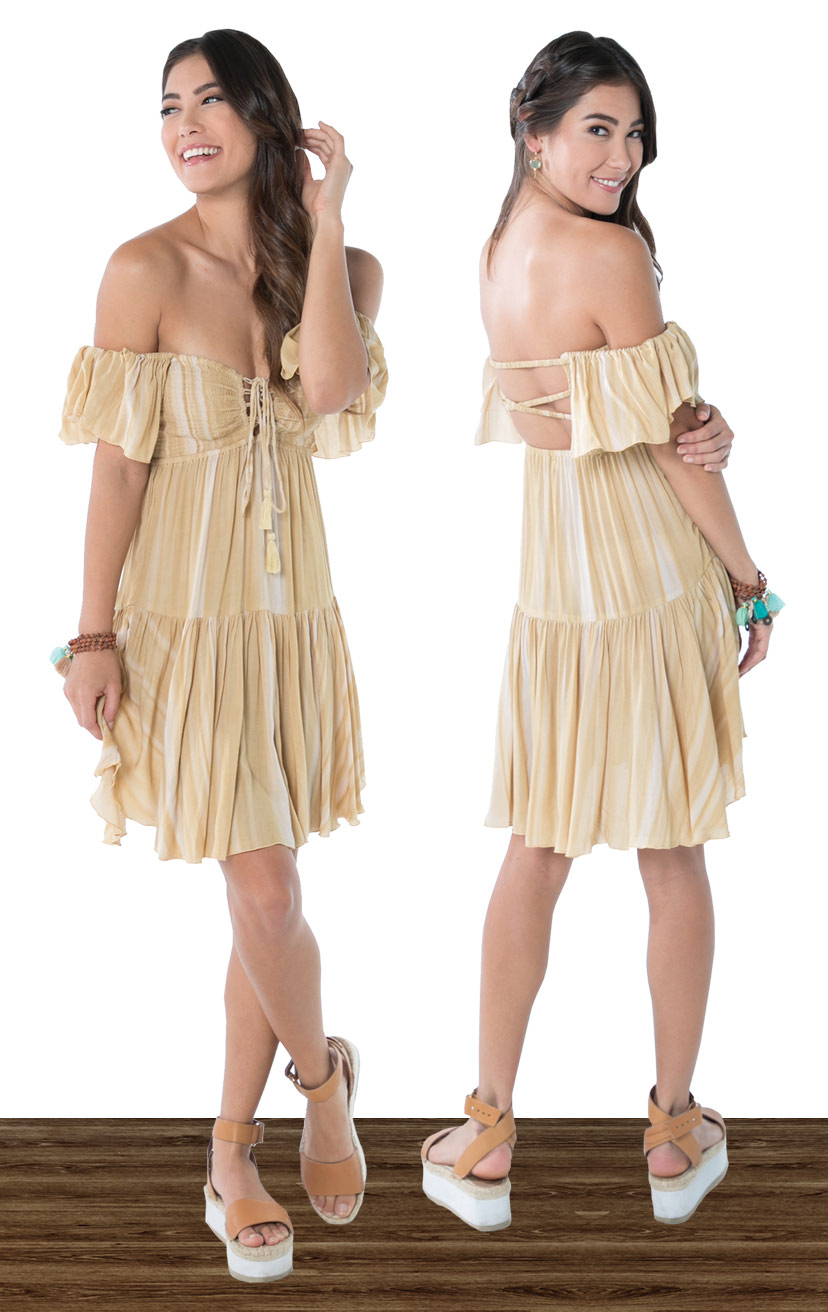 DRESS QUINN   Cap slv strapless short dress, smocked bodice w/ lace up ties, x-back, bottom ruffle  100% RAYON | XS-S-M-L