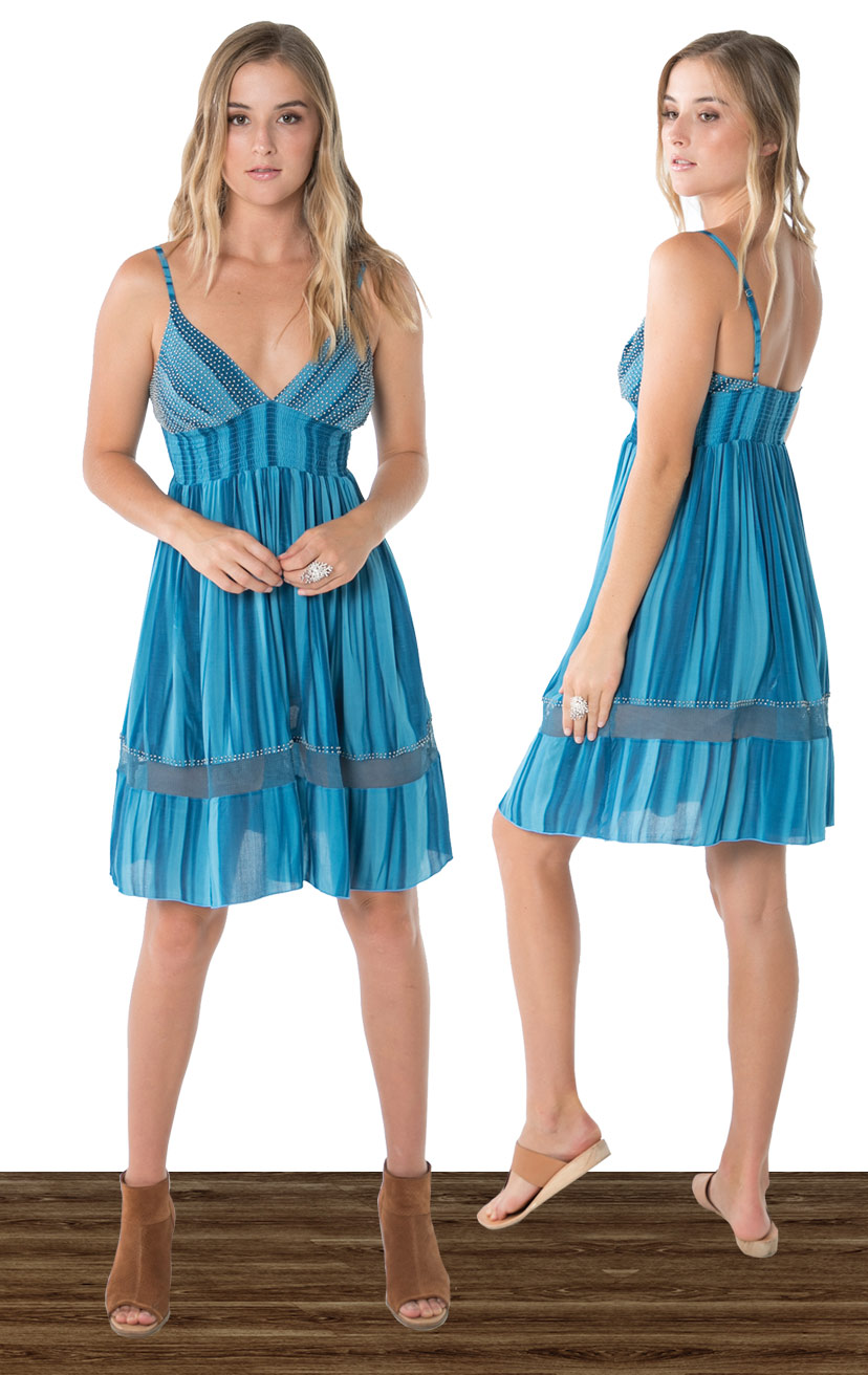 DRESS PARKER   Beaded triangle top, spaghetti strap, wide smocked under bust, elastic back short dress  100% RAYON | XS-S-M-L