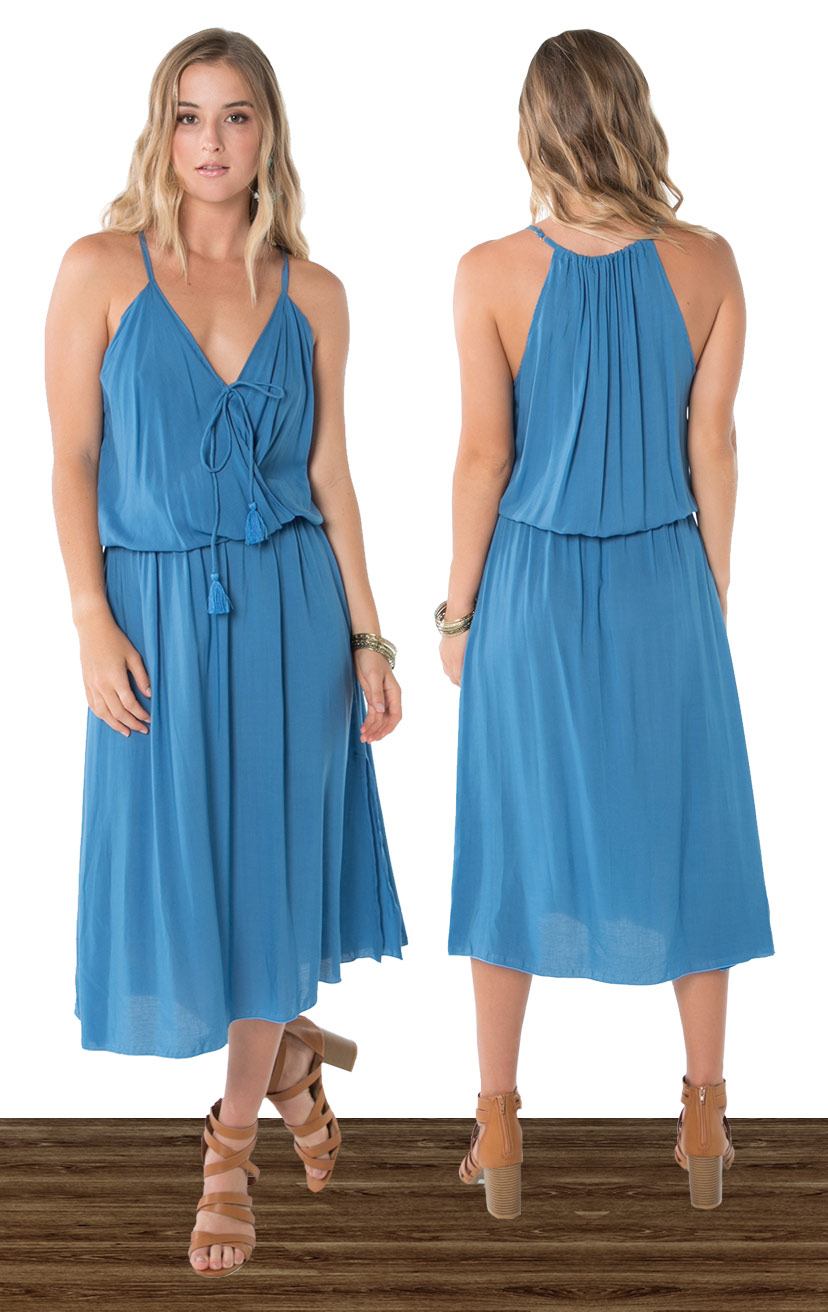DRESS ACEY   Front surplice midi dress w/ side slit, front ties w/ tassels, racerback  100% RAYON   XS-S-M-L