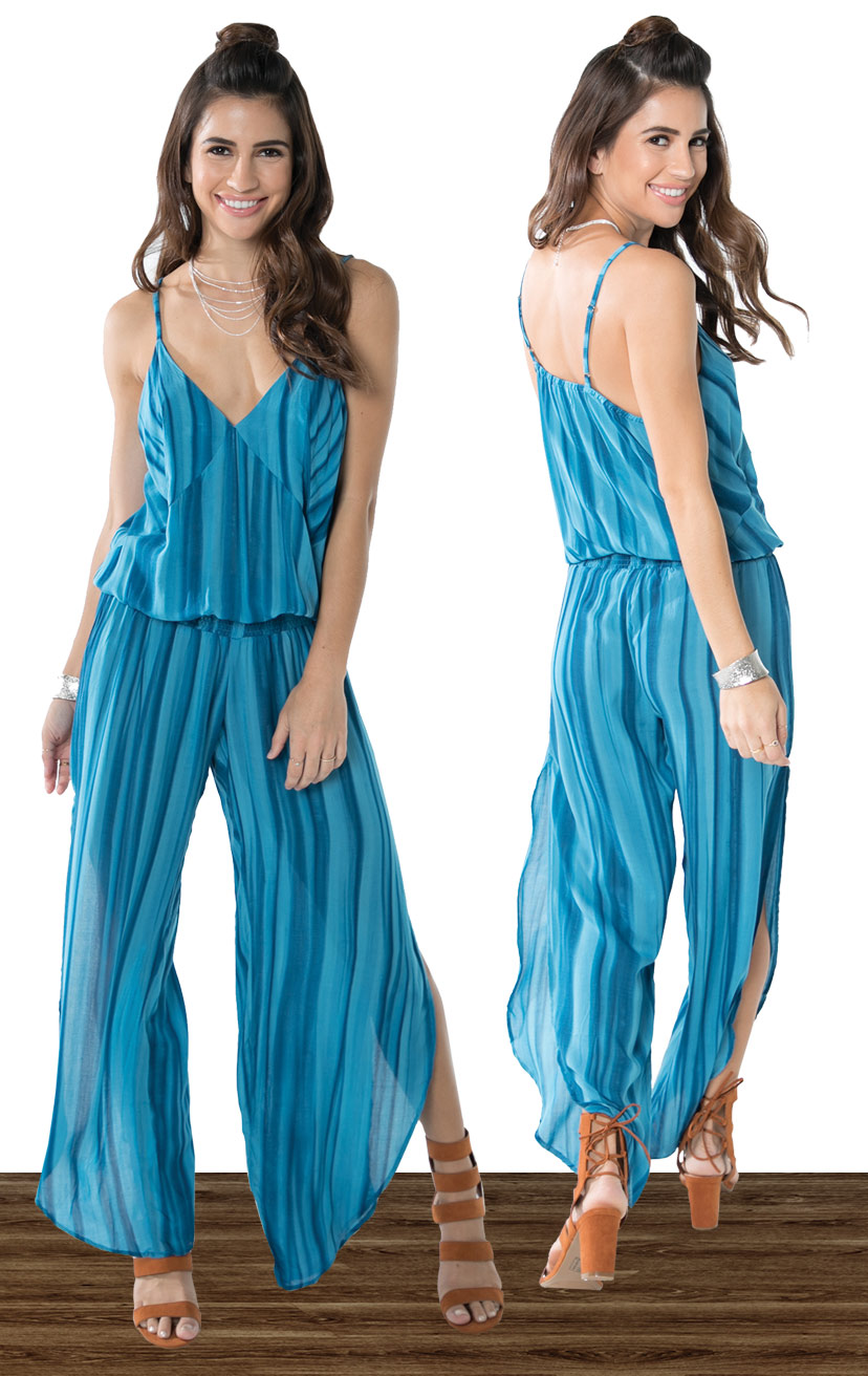 JUMPSUIT SHIFT   Beaded triangle top, spaghetti strap, drop waist jumpsuit, alluring slits down the sides  100% RAYON | XS-S-M-L