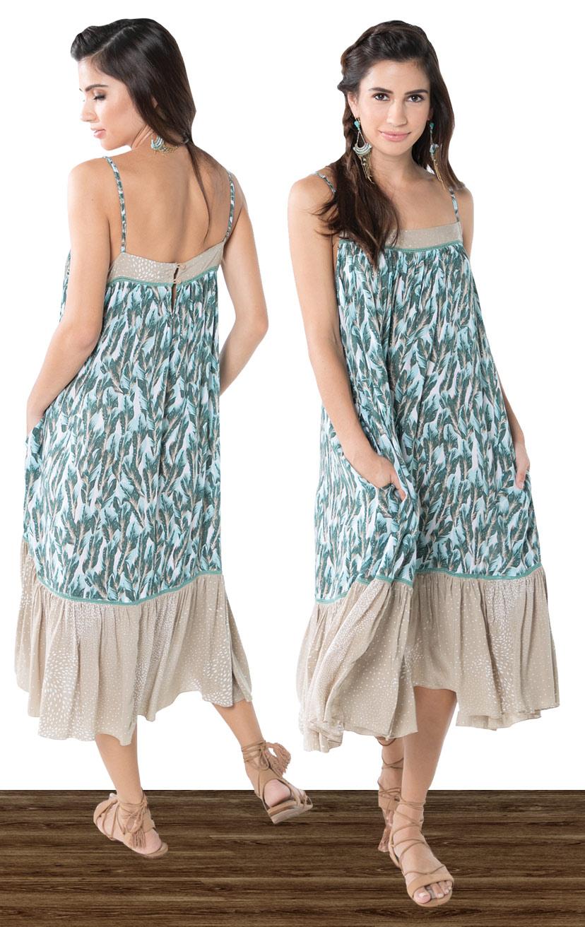 DRESS LUSH   Adjustable spag-strap midi dress side pockets, bottom ruffle  100% RAYON   XS-S-M-L