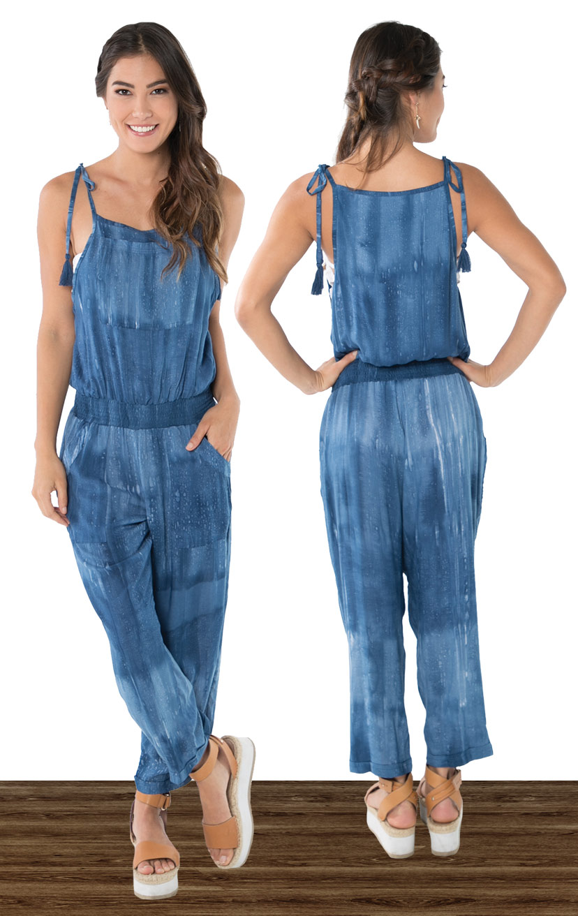 JUMPSUIT AMAINA   Tie spaghetti strap, t-length overall style jumper, w/ pockets  100% RAYON | XS-S-M-L