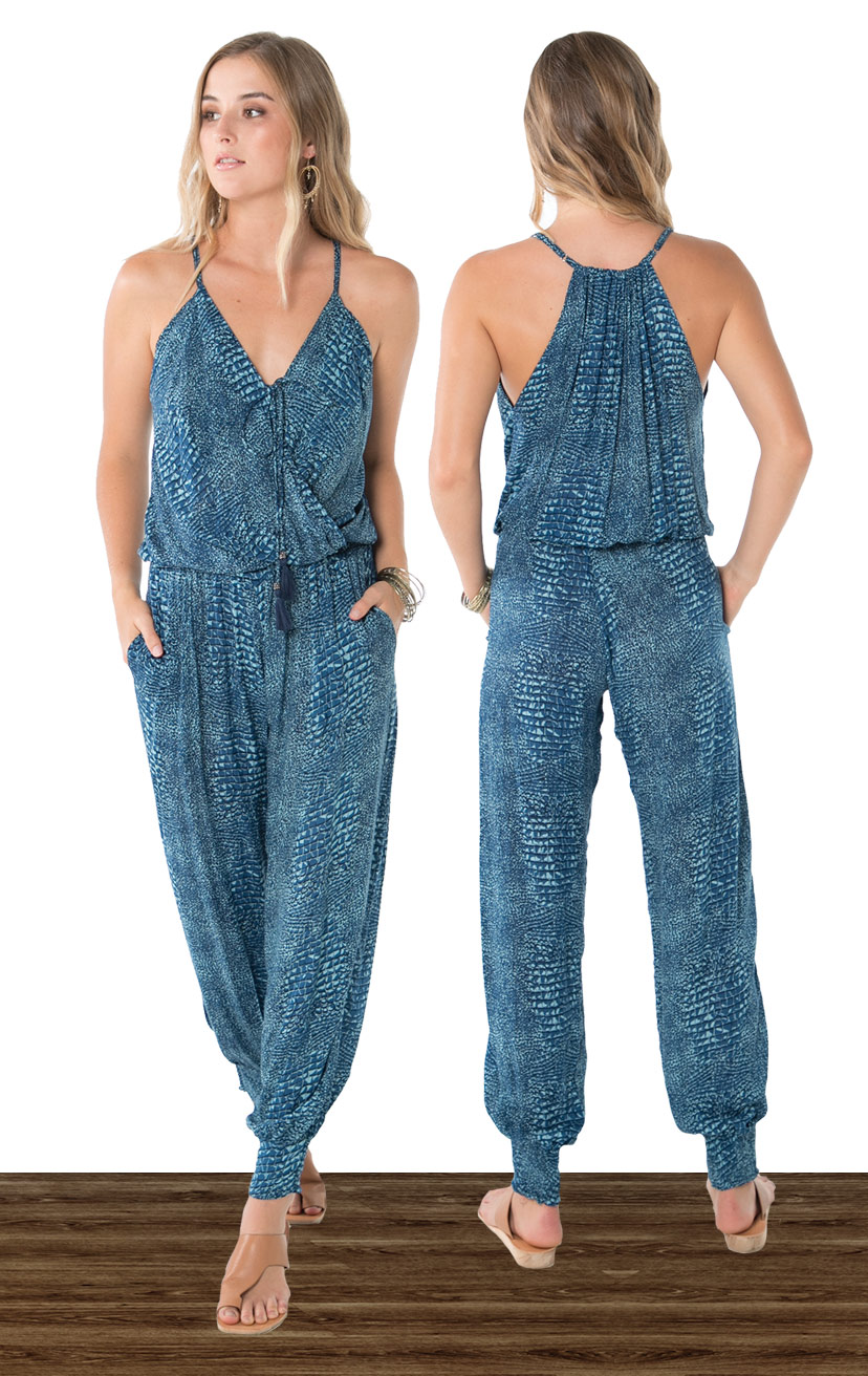 JUMPSUIT VEDA   Spaghetti strap jumpsuit, racer  back elastic waist, front pockets  100% RAYON | XS-S-M-L