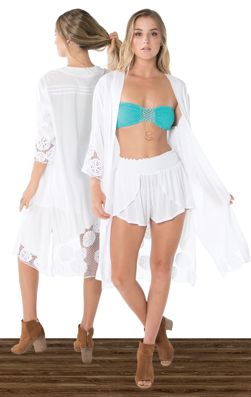 KIMONO KEISHA   L/s knee length kimono w/ slv and back krawang embroidery, pleat back detail  100% RAYON | XS-S-M-L  –   BANDEAU BLISS   Smocked top, center crochet, x-back straps  100% RAYON | XS/S, M/L  –   SHORTS CHASER   Wrap style shorts, elastic waist  100% RAYON | XS-S-M-L