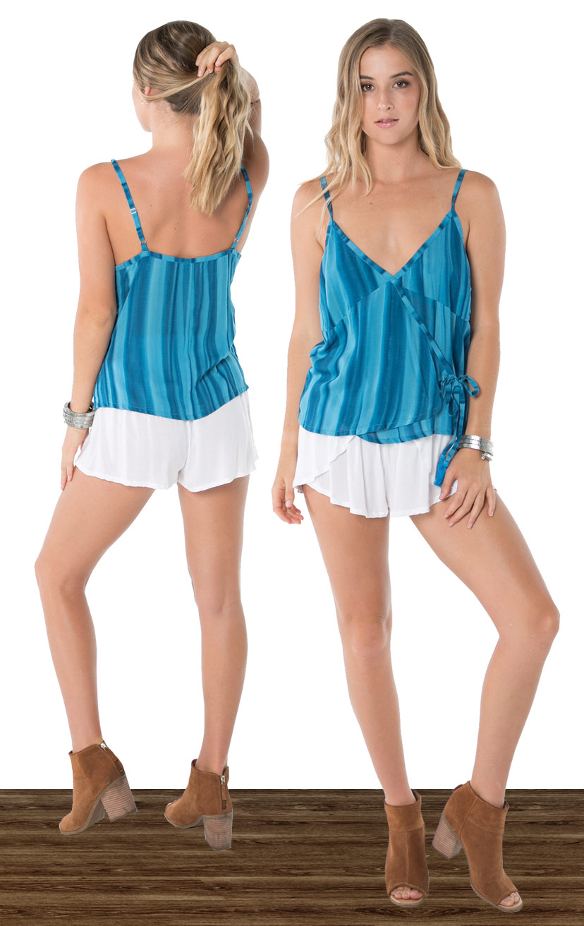 TOP CRUSHIN   Wrap top w/ v-snap closure, side adjustable tassel ties  100% RAYON | XS-S-M-L  –   SHORTS CHASER   Wrap style shorts, elastic waist  100% RAYON | XS-S-M-L