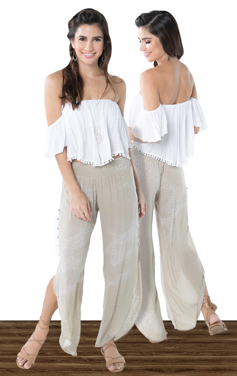 TOP KIMMIE   Cap slv strapless crop top, front pleat detail, under smocked bandeau  100% RAYON | XS-S-M-L  –   PANT SKY   Smock-waist pant, deep side slits w/ cover button detail, round bottom hem  100% RAYON | XS-S-M-L