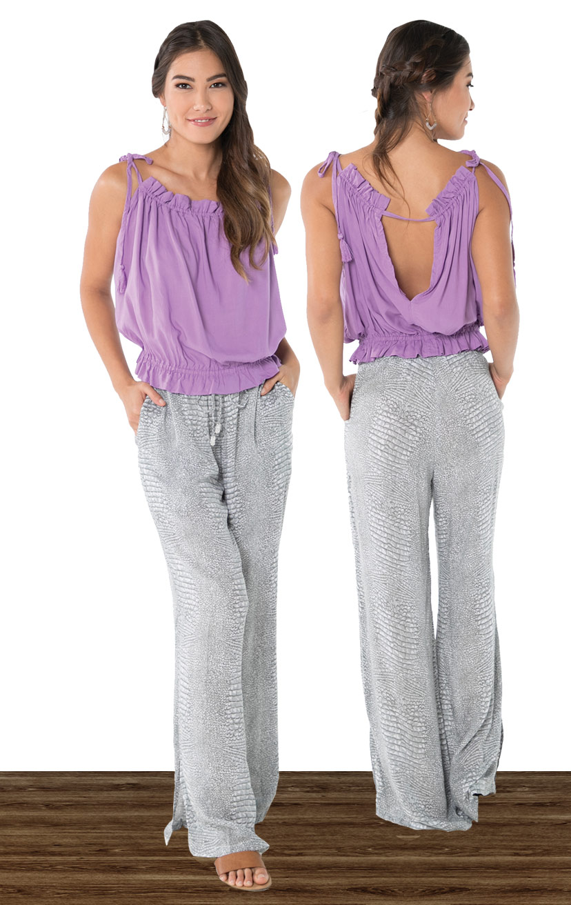 TOP IRIS   Shoulder ties w/ tassels, spaghetti strap w/ top ruffle detail, elasticized ruffle bottom top  100% RAYON | XS-S-M-L  –   PANT WILLOW   Beaded drawstring ends palazzo leg pant, side pockets, bottom side slits  100% RAYON | XS-S-M-L