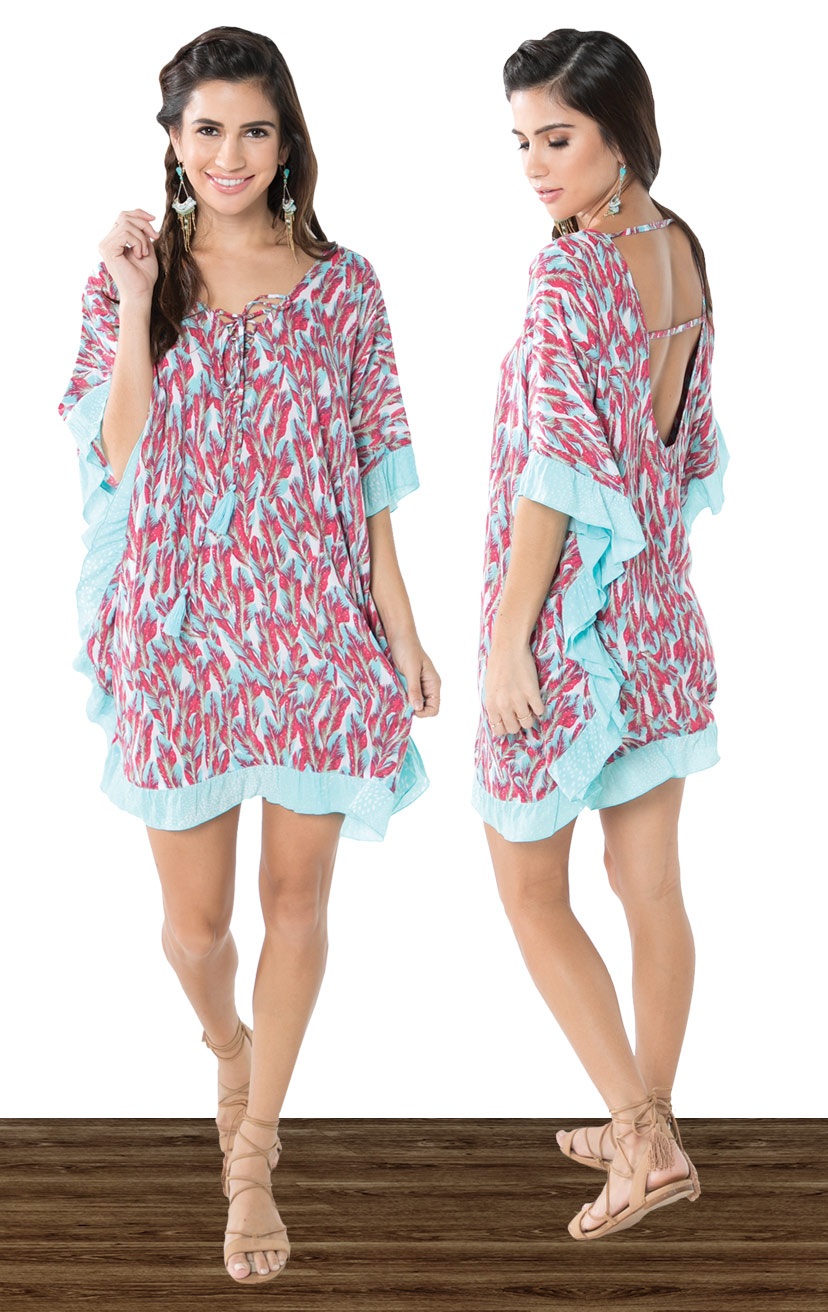 COVER-UP MILOS   V-neck cover up, kaftan bodice cut, all around ruffle edges, round open back w/ strap detail  100% RAYON | XS, S, M, L