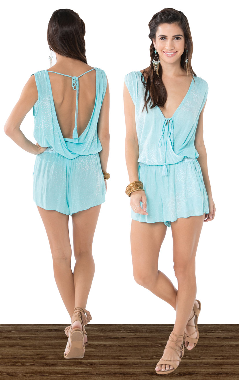 ROMPER ANINI   Sleeveless front and back wrap romper, lace waistband, ties w/ tassels  100% RAYON | XS-S-M-L
