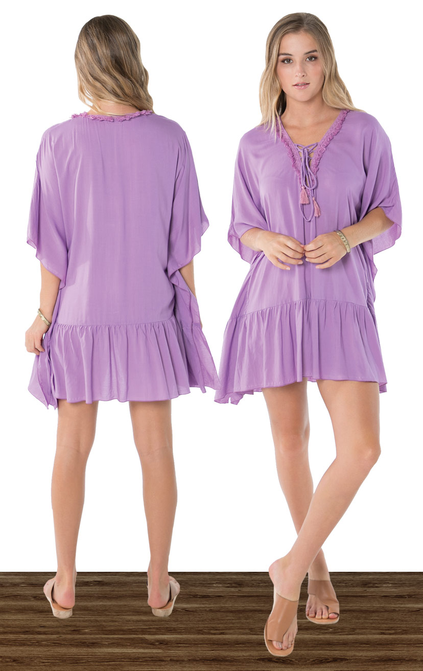COVER-UP BAJA   Lace up neckline w/ fringe lace detail, wide kaftan sleeves, ruffle hem cover-up  100% COTTON | XS-S-M-L