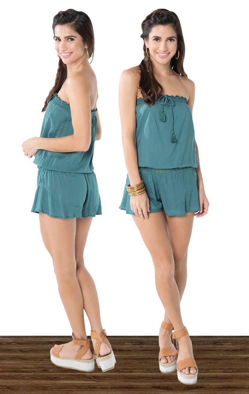 ROMPER CHANNEL   Strapless romper, elasticized lace waistband with tasseled ties  100% COTTON | XS-S-M-L