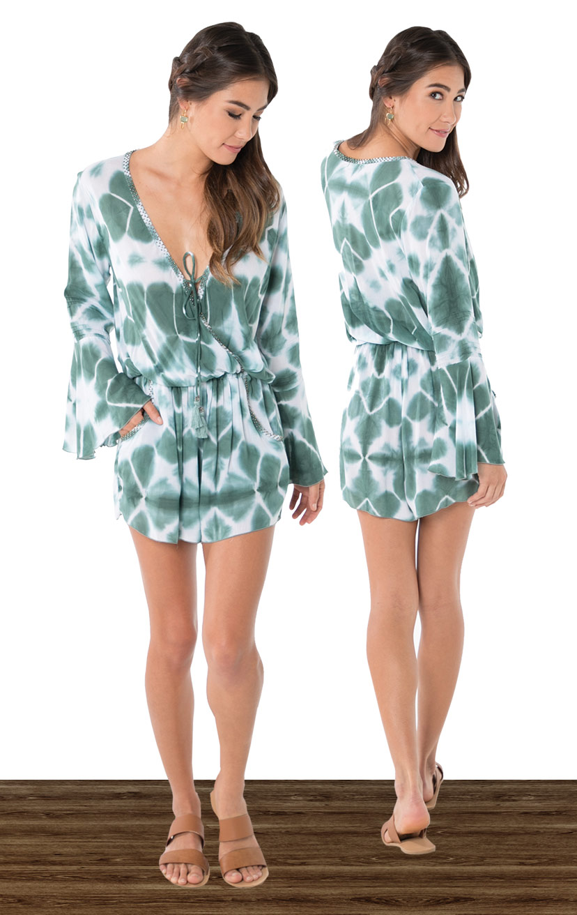 ROMPER KAIA   High-waist, front wrap bell-slv romper w/ beaded neckline  100% COTTON | XS-S-M-L