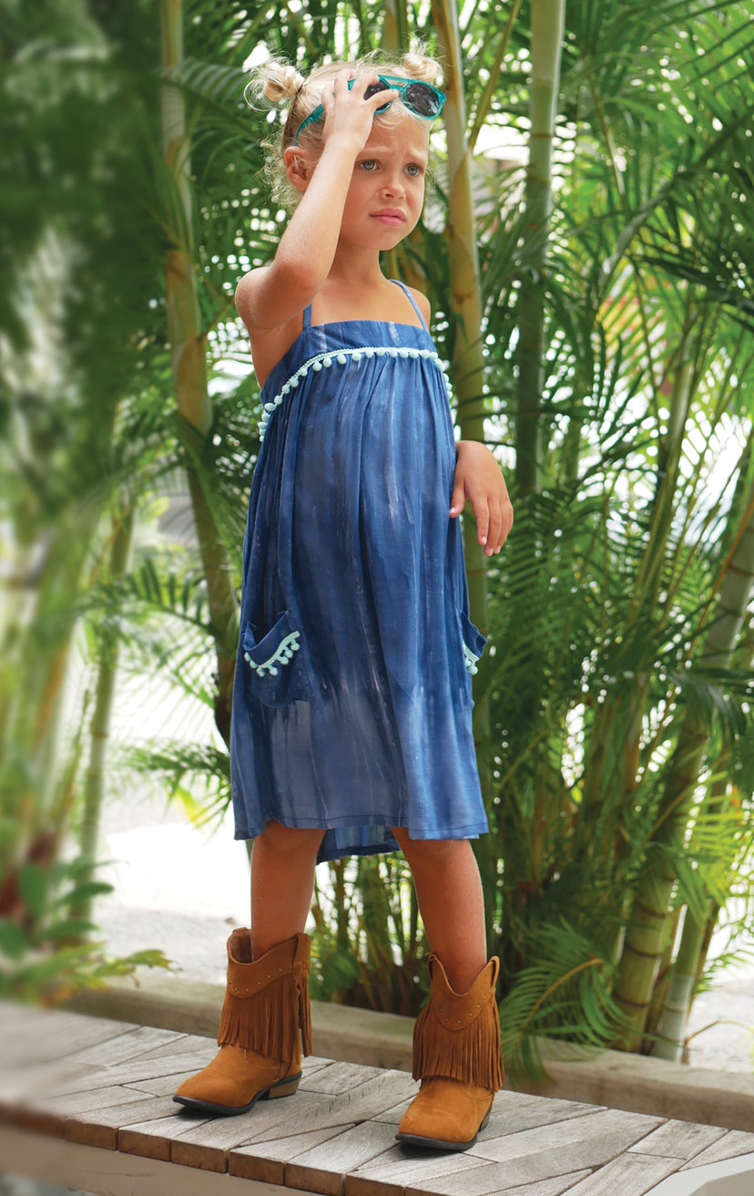 DRESS POPSICLE   Spaghetti-strap flowy dress w/ pom pom detail on top & front pockets  100% RAYON | 2/3 | 4/5 | 6/7 | 8/10