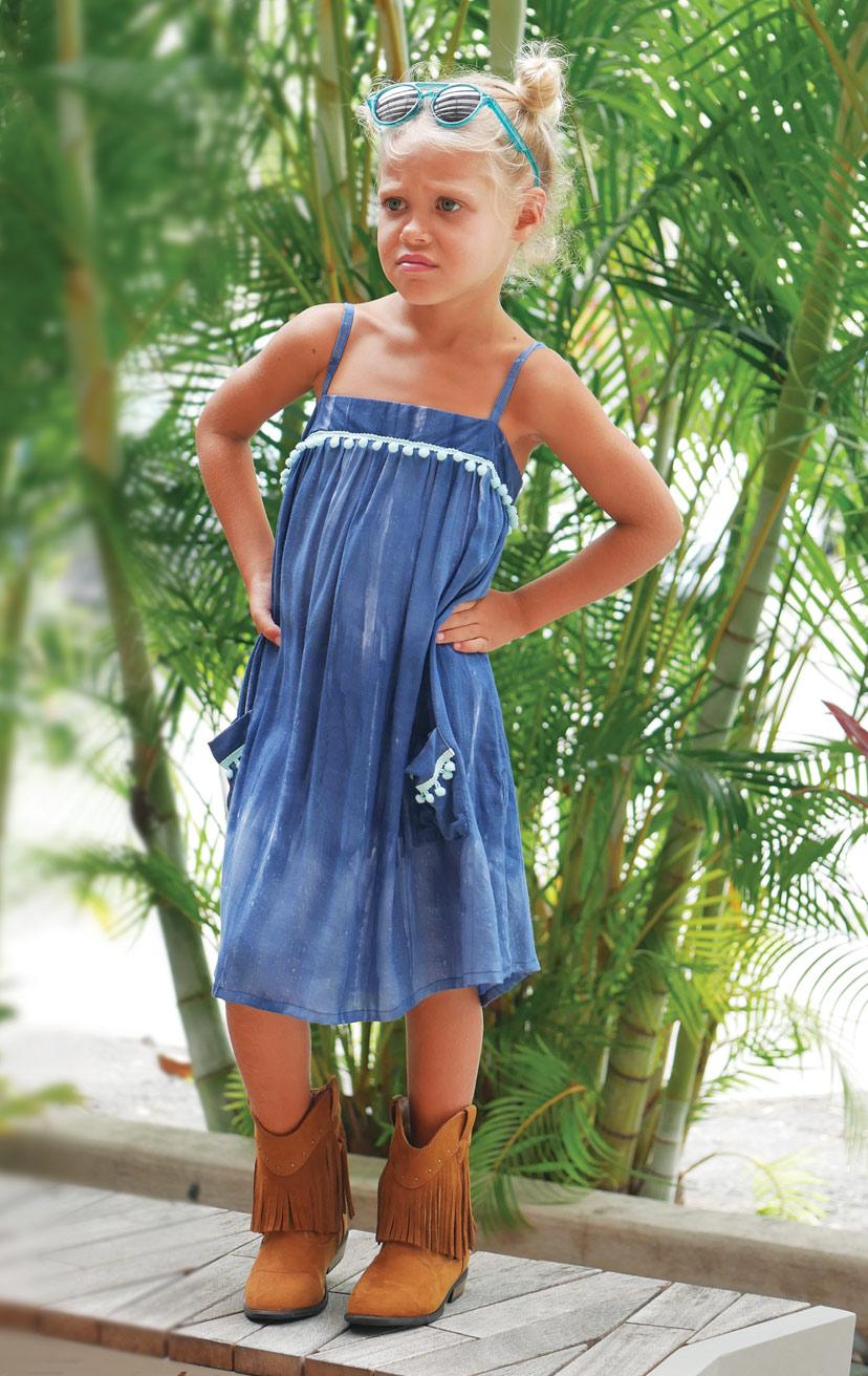 DRESS POPSICLE   Spaghetti-strap flowy dress w/ pom pom detail on top & front pockets  100% RAYON   2/3   4/5   6/7   8/10