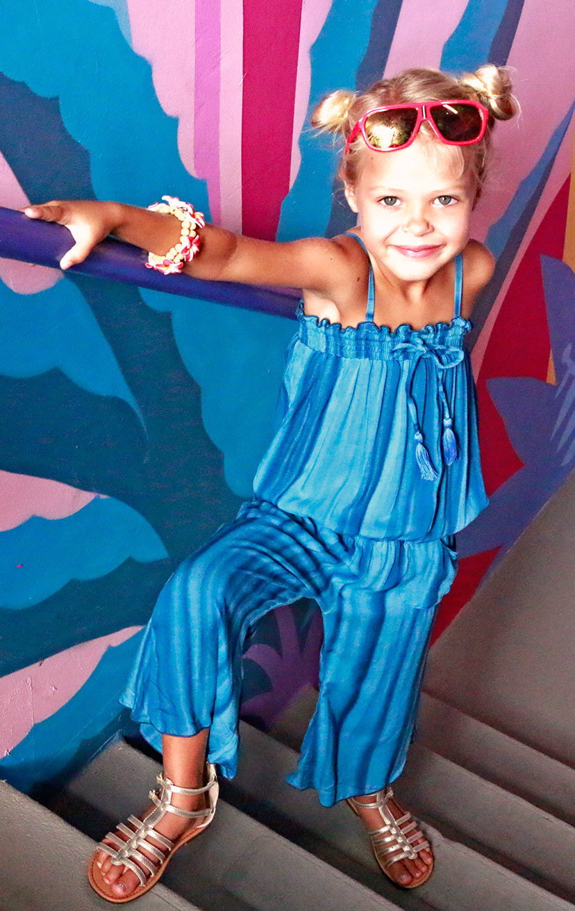 JUMPSUIT OLLY   Strapless capri length jumpsuit, spaghetti shoulder straps, elastic waist, front pkts  100% RAYON   2/3   4/5   6/7   8/10