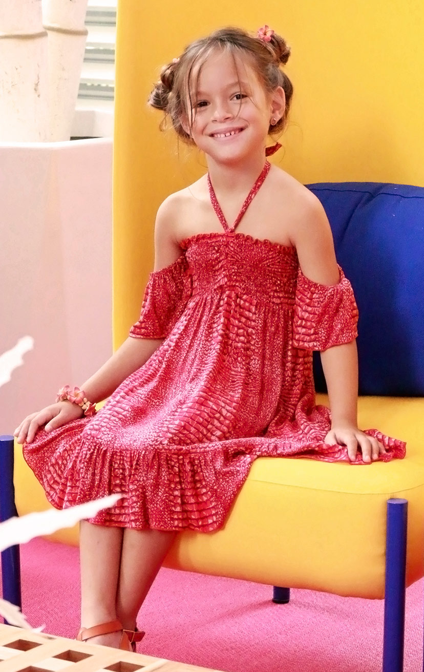 DRESS COOKIE   Cap slv smocked bodice crinkle halter short dress, bottom ruffle  100% RAYON | 2/3 | 4/5 | 6/7 | 8/10