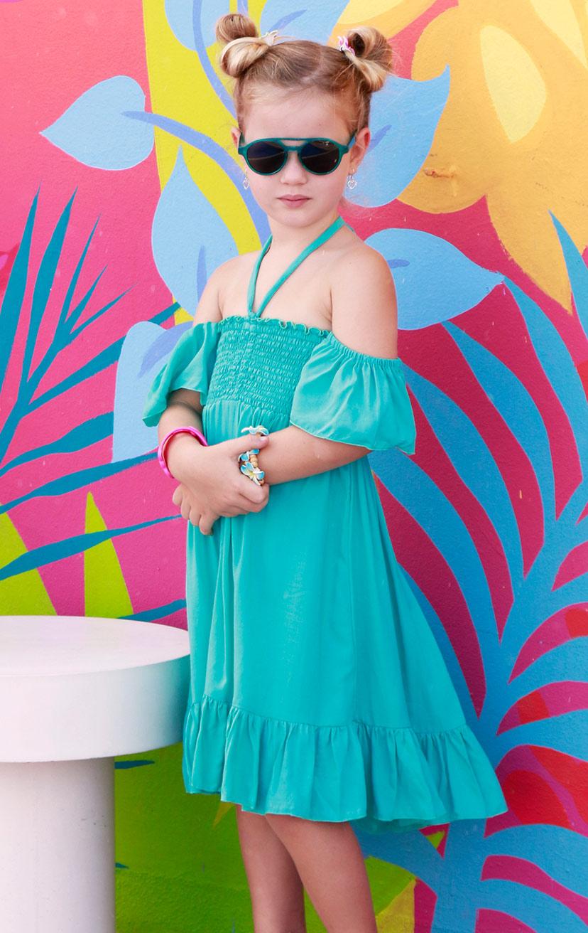 DRESS COOKIE   Cap slv smocked bodice crinkle halter short dress, bottom ruffle  100% RAYON   2/3   4/5   6/7   8/10