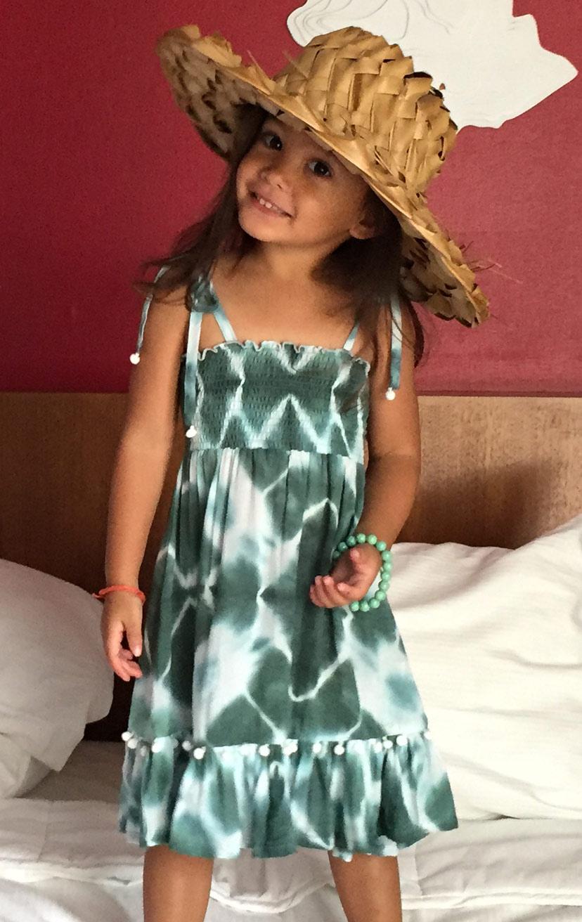 DRESS OLIVIA   Spaghetti straps top smocked dress, w/ pom pom detail  100% RAYON   2/3   4/5   6/7   8/10