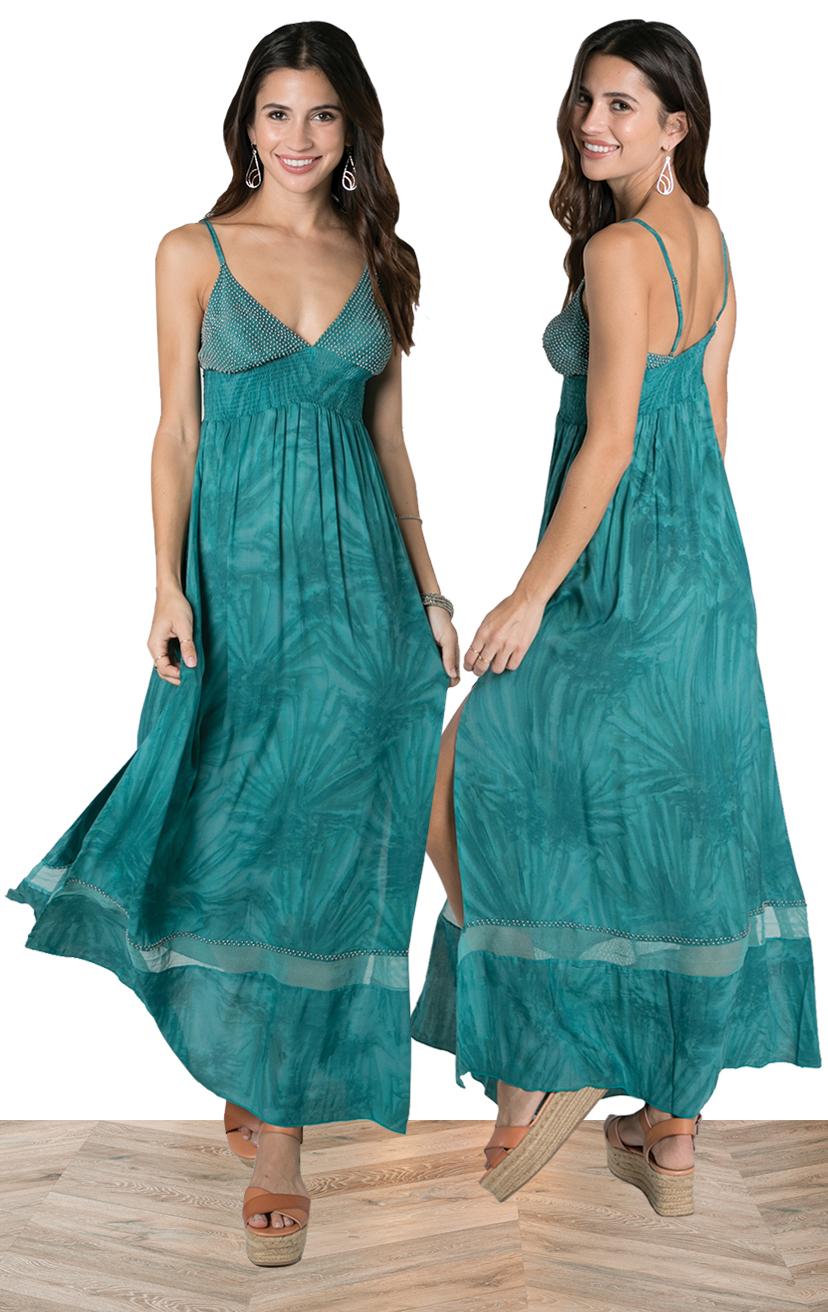 DRESS JASPER   Beaded triangle top, spaghetti strap, wide smocked under bust, elastic back maxi dress, side slits  100% RAYON | XS-S-M-L