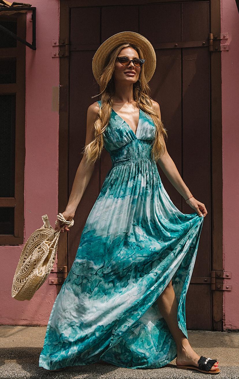 "DRESS BONNIE   Deep ""v"" sleeveless empire waist maxi dress  100% RAYON | XS-S-M-L"