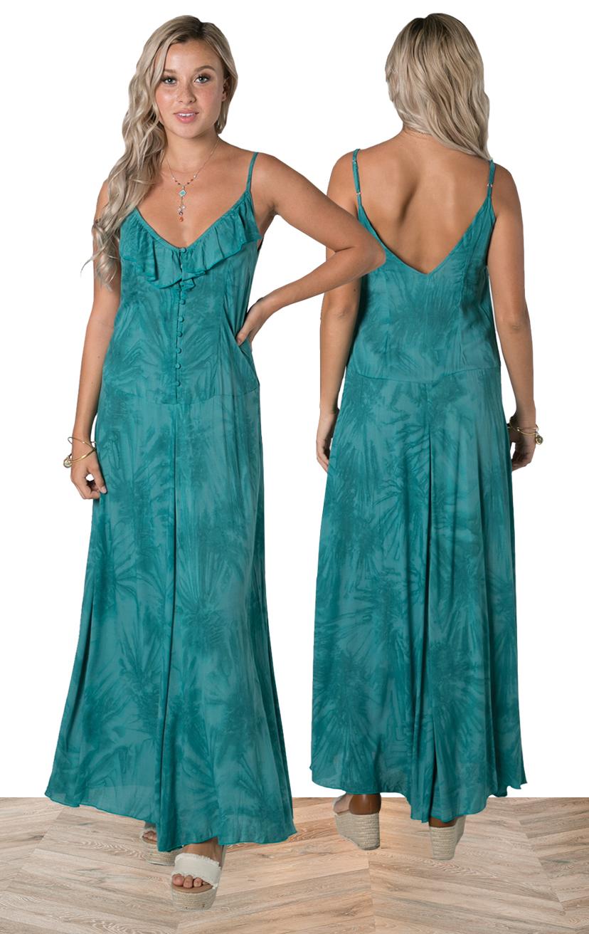 DRESS MAXINE   Spaghetti strap maxi dress w/ front button, ruffle neckline detail  100% RAYON | XS-S-M-L