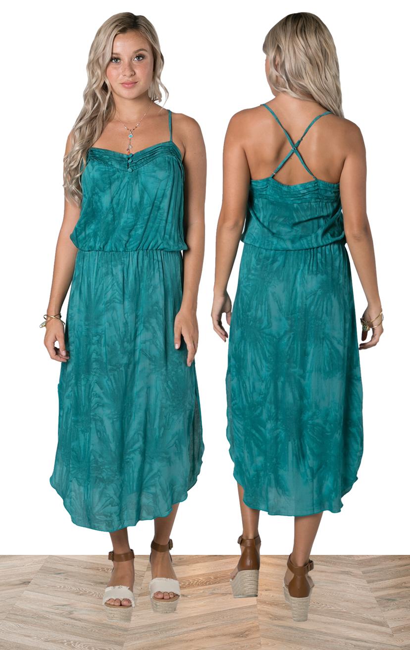 DRESS SALUT   Spaghetti strap criss cross back, elastic waist, round bottom, relaxed fit midi dress  100% RAYON | XS-S-M-L