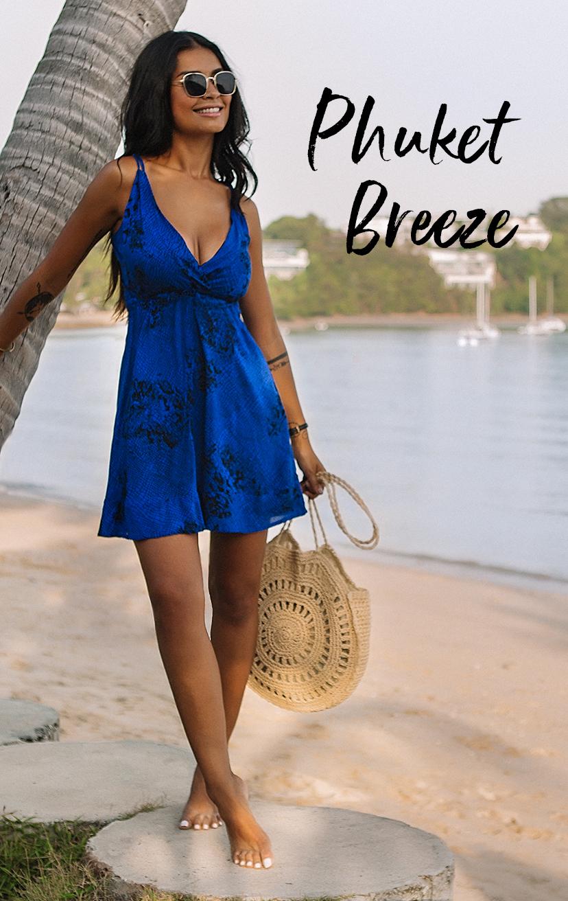 DRESS YANA   Empire waist wrap short dress, double shoulder straps, big keyhole with ties back  100% RAYON | XS-S-M-L
