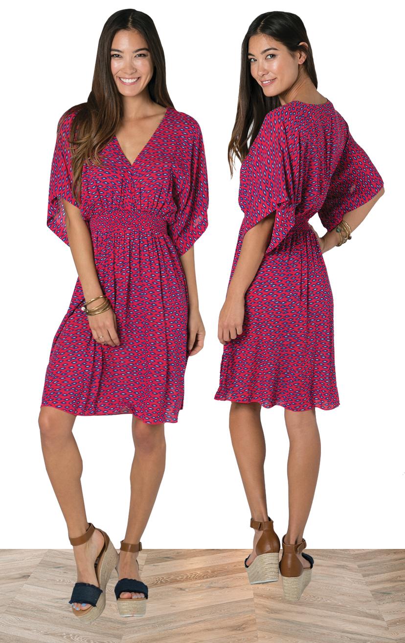 DRESS FLYNN   Empire waist, side slits, back adj ties, bell 3/4 slv short dress  100% RAYON | XS-S-M-L