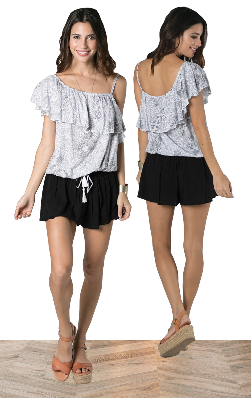 TOP DIXIE   Asymmetrical, one side spaghetti strap ruffle top  100% RAYON | XS-S-M-L  –   SHORTS CHASER   Wrap style shorts, elastic waist  100% RAYON | XS-S-M-L
