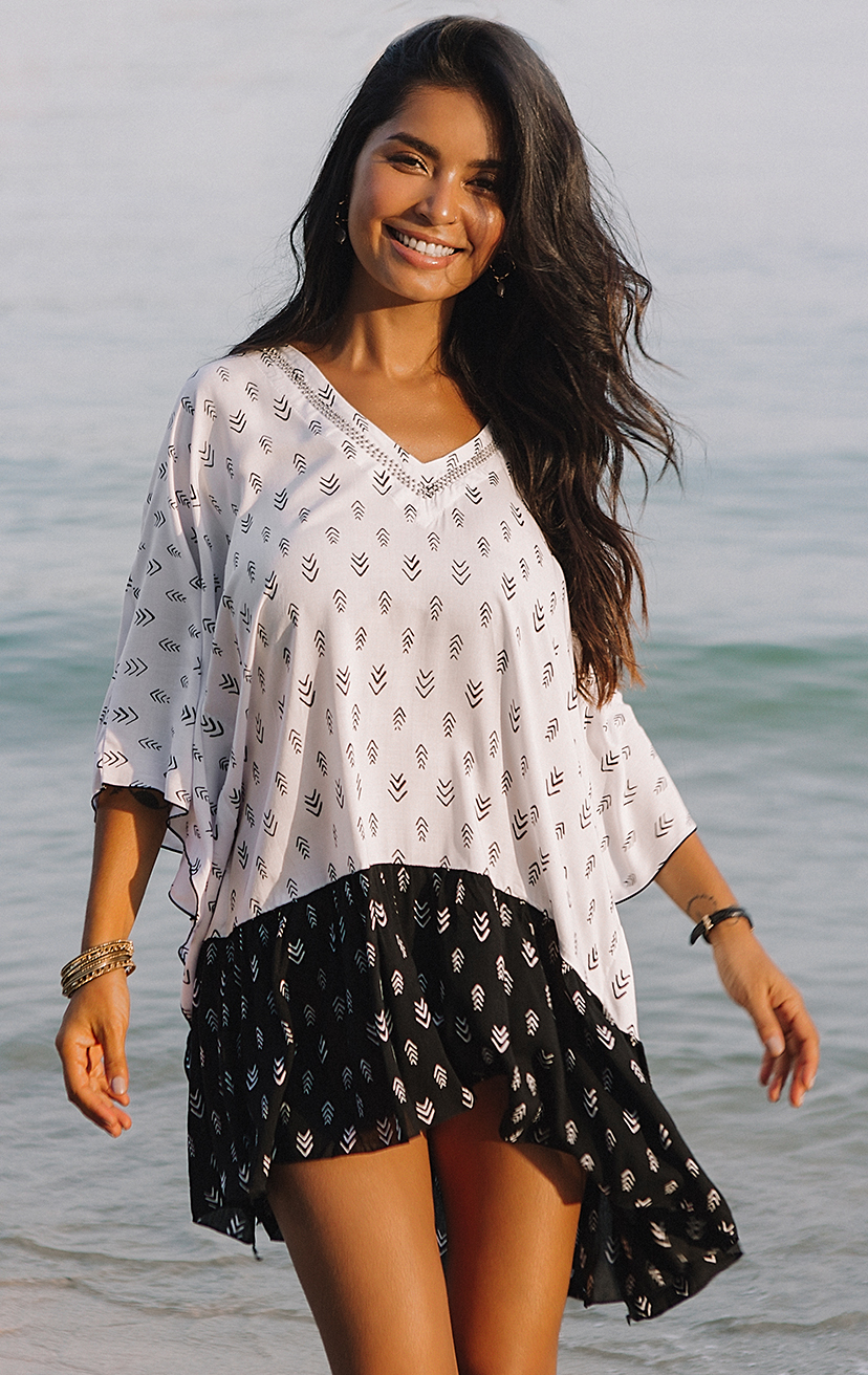 COVER-UP NUSA   Beaded v-neck, wide kaftan sleeves, ruffle hem cover-up  100% COTTON | XS-S-M-L