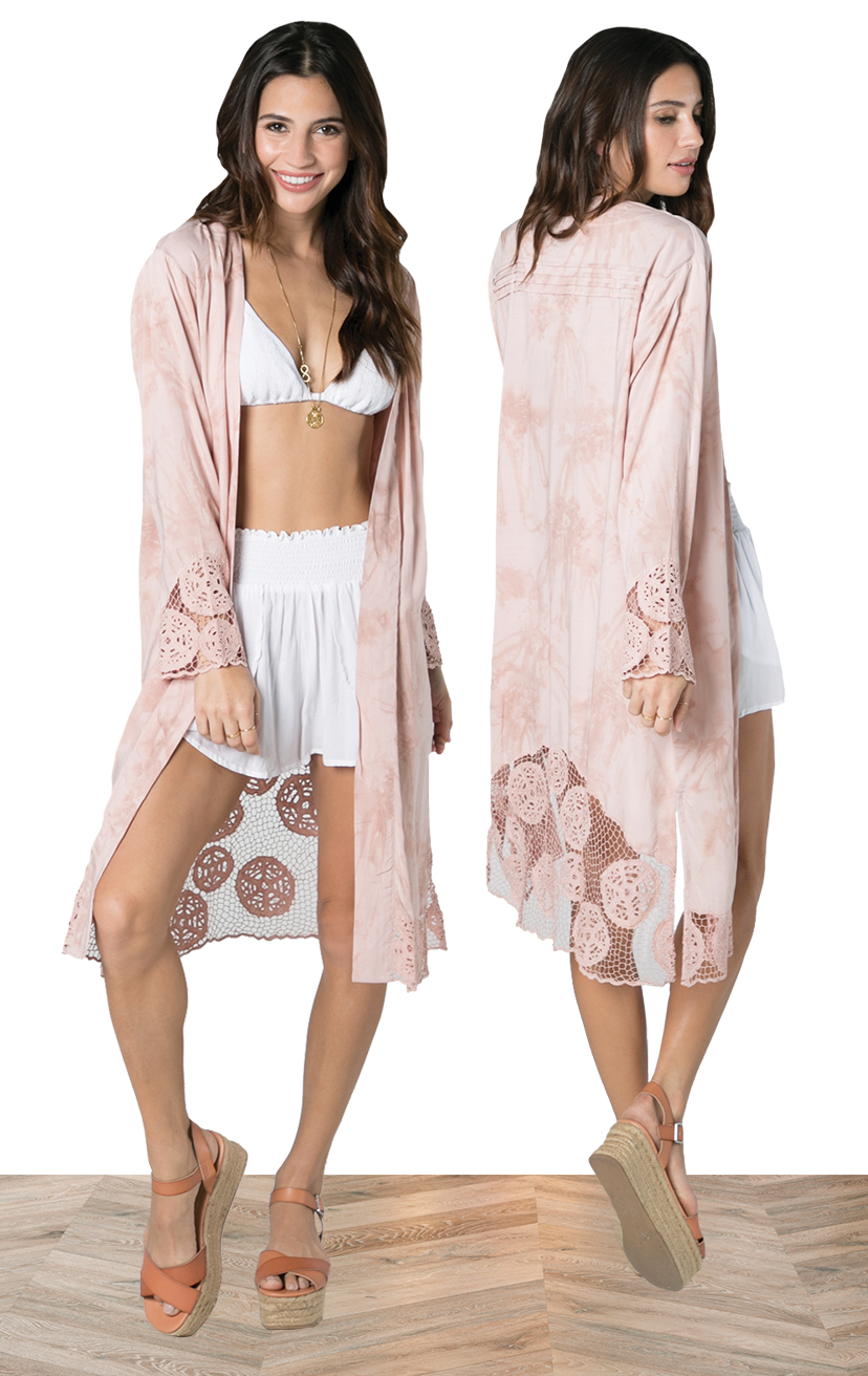 KIMONO KEISHA   L/s knee length kimono w/ slv and back krawang embroidery, pleat back detail  100% RAYON | XS-S-M-L  –   TOP AYU   Top smocked bikini front with three tiered back detail  100% RAYON | XS/S, M/L  –   SHORTS CHASER   Wrap style shorts, elastic waist  100% RAYON | XS-S-M-L