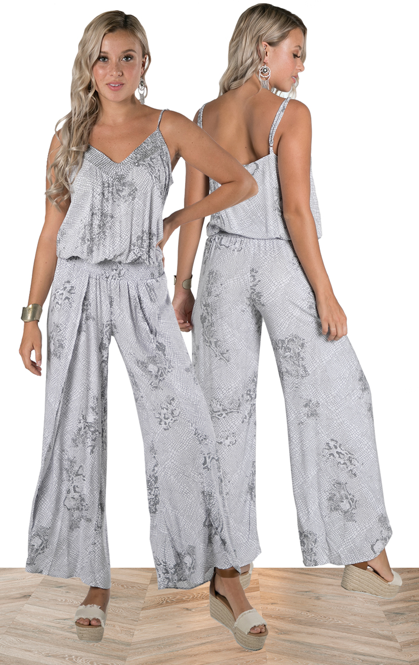 JUMPSUIT AYLA   Beaded v-neckline, spaghetti strap, wrap style, elastic waist, midi length jumpsuit  100% RAYON | XS-S-M-L