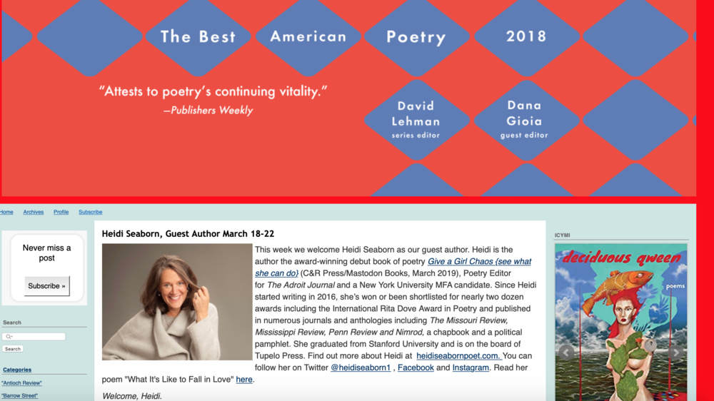 Guest Editor for Best American Poetry blog 3/18-22