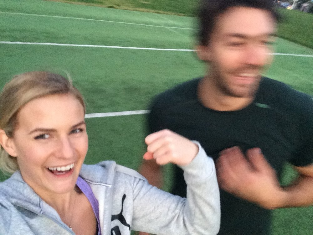 He never lets me take cringe fitness selfies with him...