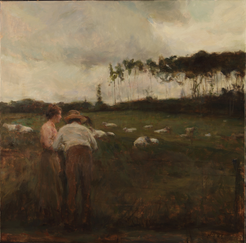 watching the charolais30x30 oil 9-2003.jpg