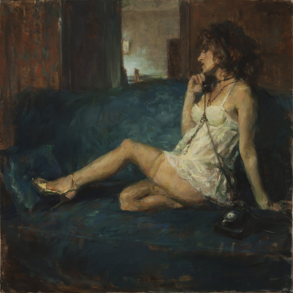 On_the_Phone_30x30_oil_10-2013.jpg