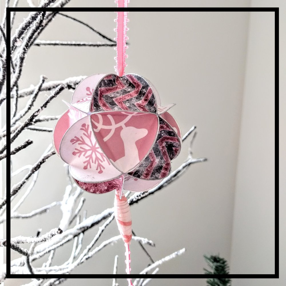 Pink Christmas -  This past Christmas I had a very special request for a pink Christmas themed ornament.  Pink Christmas papers are harder to find than one would imagine.  I'm very happy with the way this turned out!