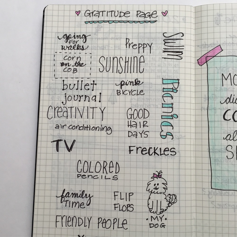 Entries in my bullet journal gratitude page