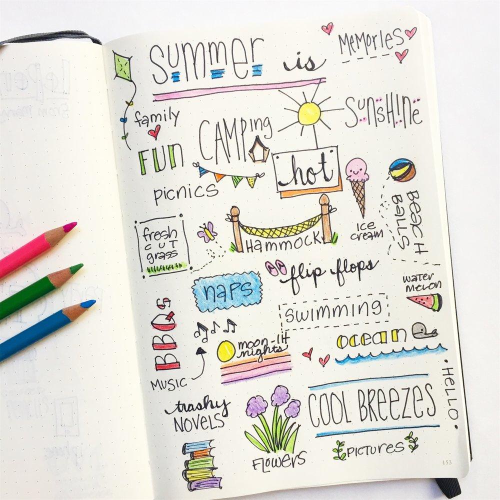 Summer Doodles Bullet Journal Page