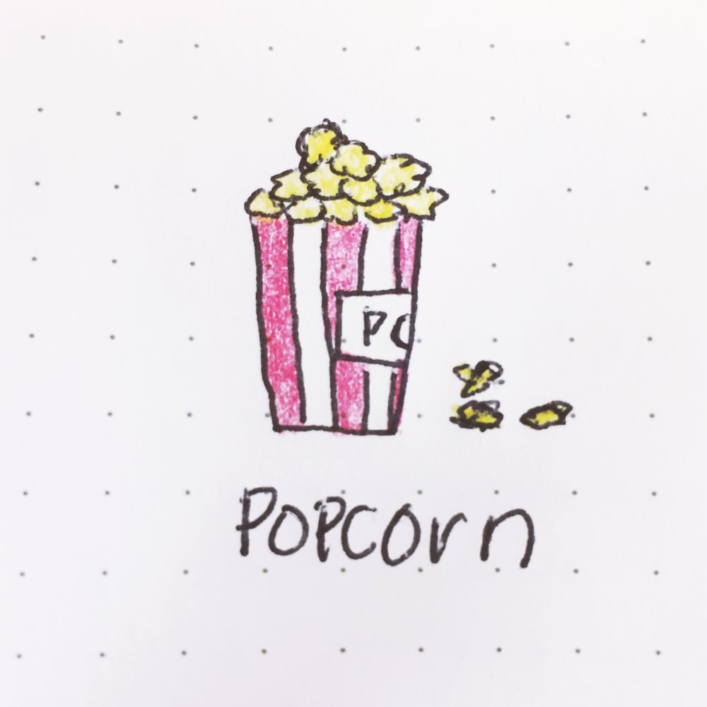 Doodle of the Day: My favorite food, POPCORN! 🍿