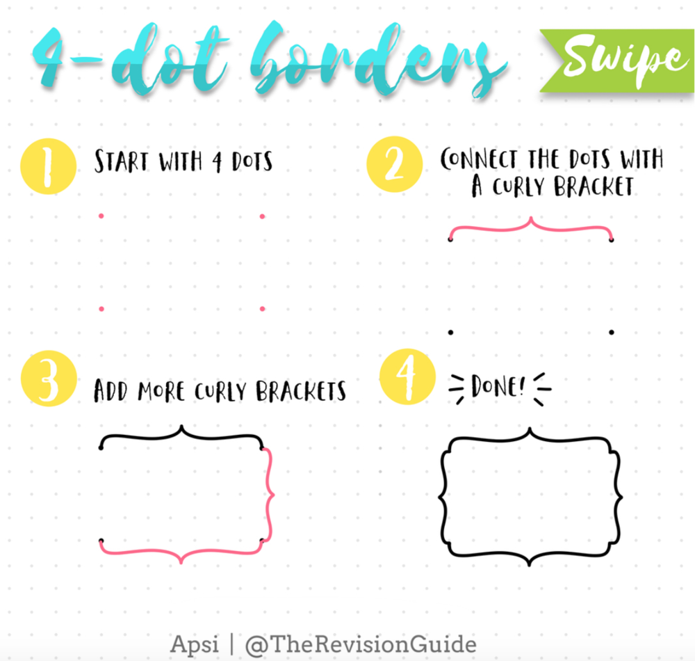 Add borders and frames to your bullet journal with this 4 step tutorial. lots more ideas on sweetplanit.com