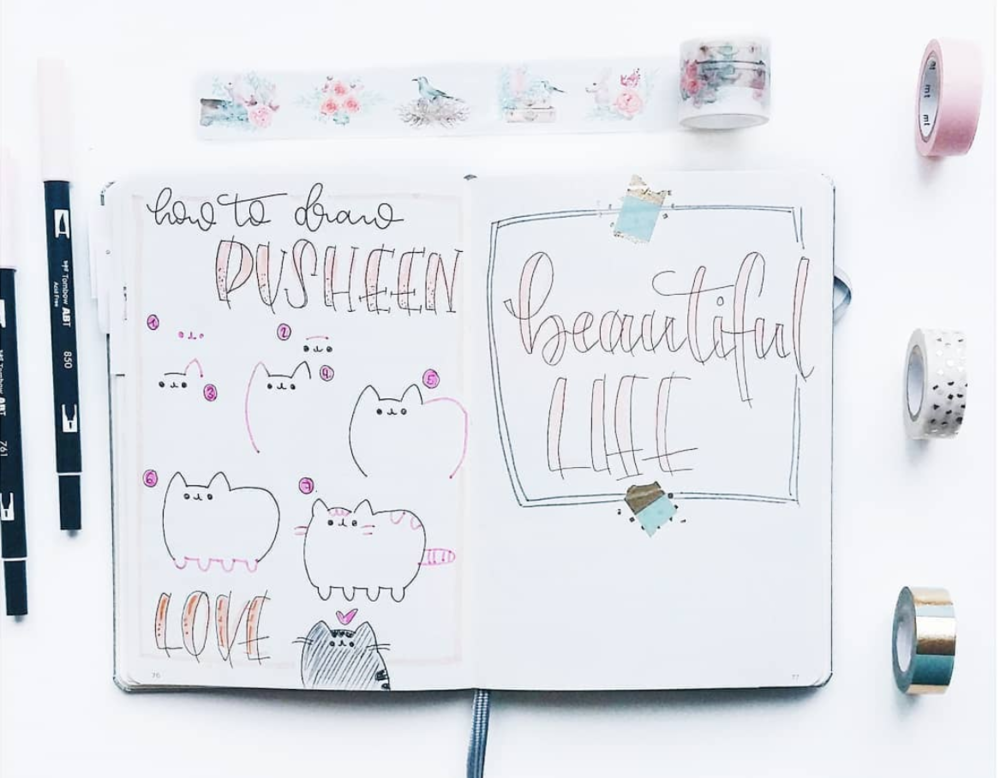 Cute Doodles you Can Make Like this Pusheen Cat. It's a Fun and Easy Drawing for your BuJo.