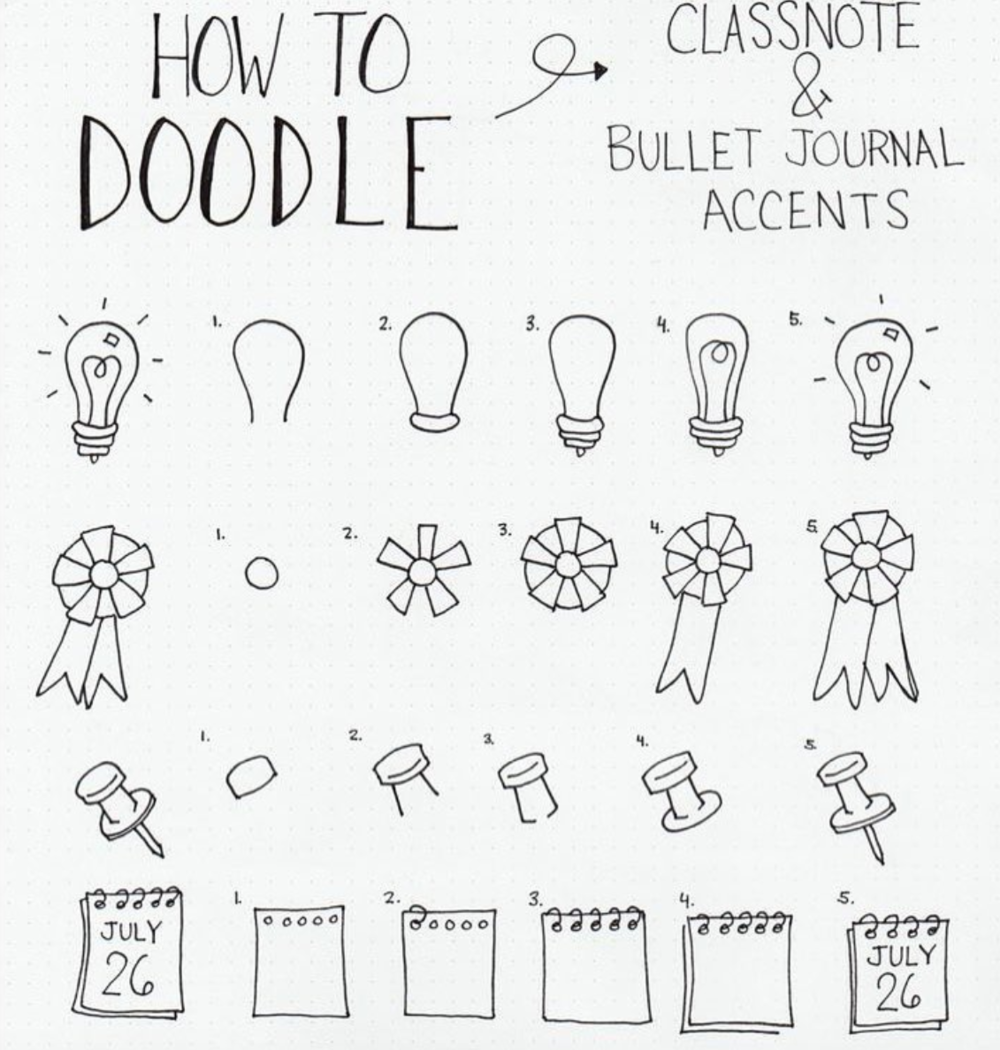Cute doodles anyone can draw in their bullet journal or notebook